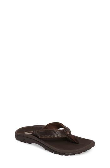 Boys Olukai Nui Leather Flip Flop