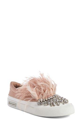 Miu Miu Embellished Feather Slip-On Sneaker