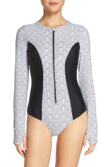 Mott 50 Long Sleeve One-Piece Swimsuit, Black