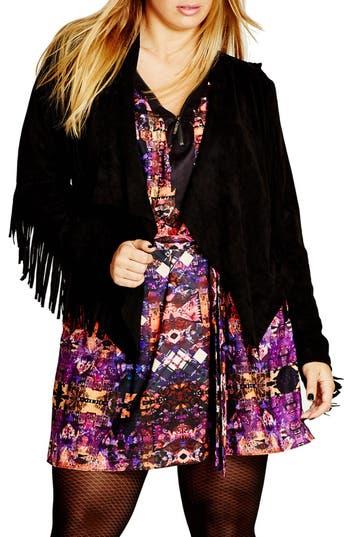 Plus Size Women's City Chic Faux Suede Fringe Jacket