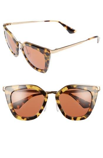 Women's Prada 52Mm Layered Frame Sunglasses - Medium Havana