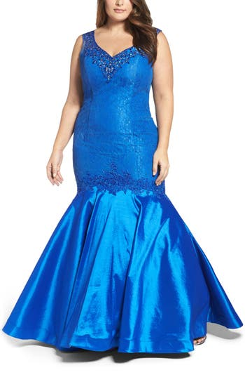 Plus Size MAC Duggal Taffeta Mermaid Gown