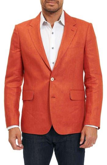 Big & Tall Robert Graham Papua Linen Sport Coat, Orange