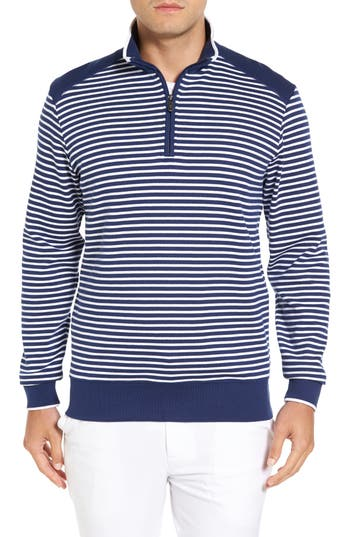 Men's Bobby Jones Stripe Quarter Zip Sweater, Size Small - Blue