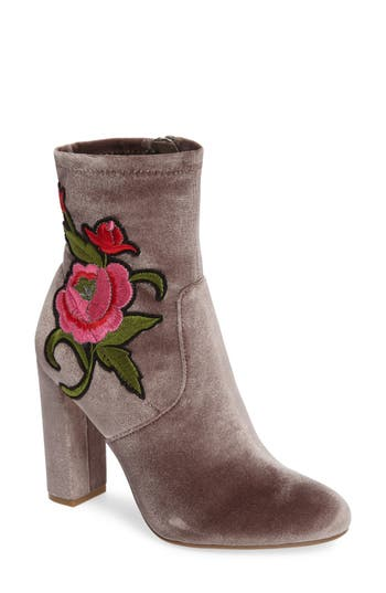 Steve Madden Edition Embroidered Bootie, Grey