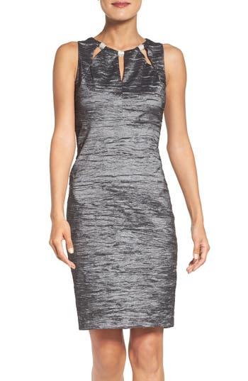 Eliza J Embellished Cutout Taffeta Sheath Dress, Grey