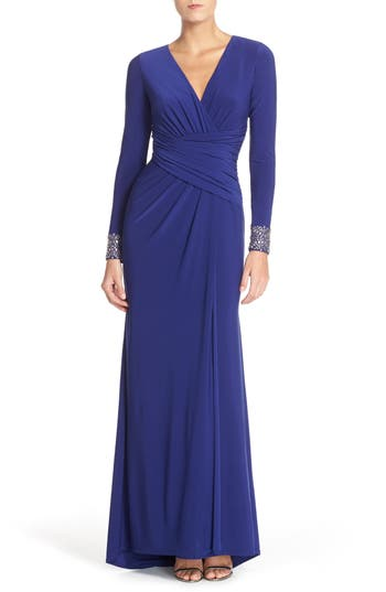 Vince Camuto Embellished Sleeve Jersey Gown, Blue