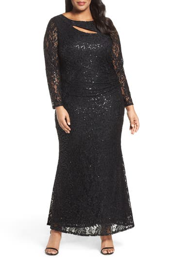 Plus Size Marina Sequin Lace Keyhole Gown