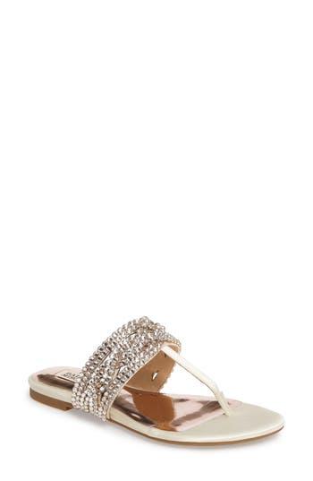 Badgley Mischka Trent Embellished Flat Sandal, Ivory