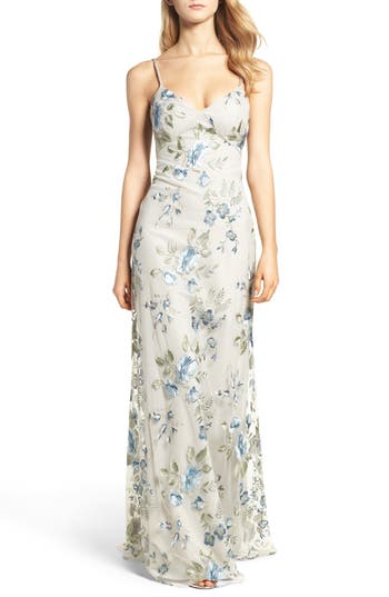 Jenny Yoo Julianna Embroidered Gown, Blue