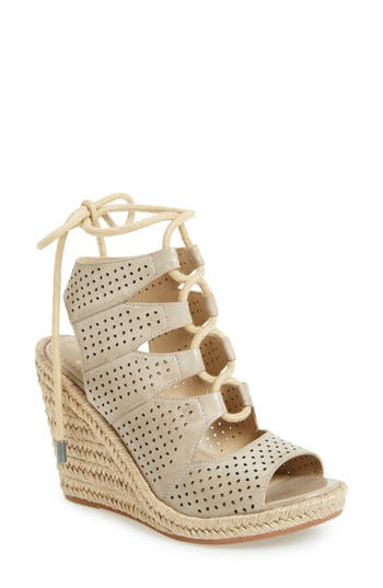 Johnston & Murphy Mandy Perforated Wedge Sandal, Grey