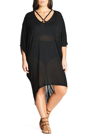 Plus Size City Chic Strap Detail High/low Cover-Up Dress