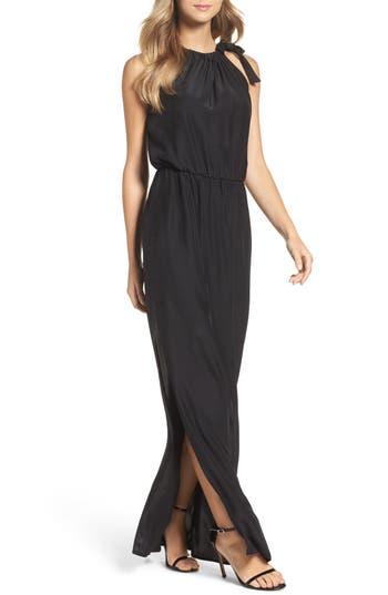 Natalie Deayala High Neck Silk Column Gown