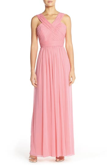 Alfred Sung Shirred Chiffon V-Neck Gown, Pink