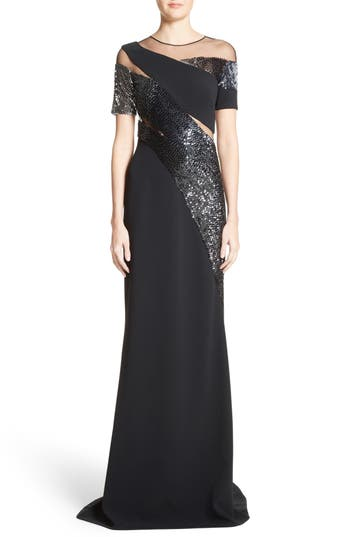 Pamella Roland Sequined Silk Gown