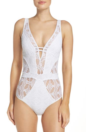 Becca Color Play One-Piece Swimsuit, White