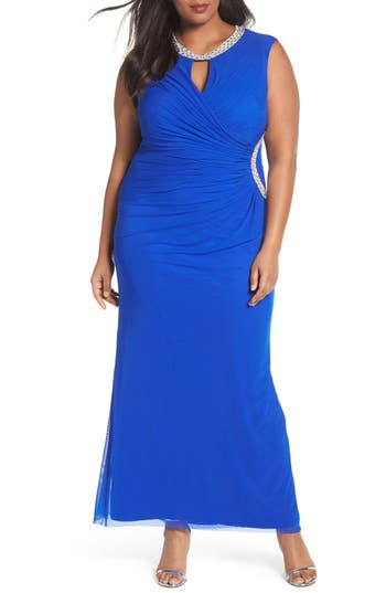 Plus Size Marina Embellished Faux Wrap Gown, Blue