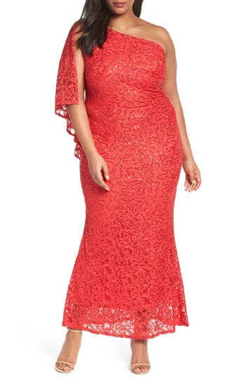 Plus Size Marina Sequin Lace One-Shoulder Gown, Red