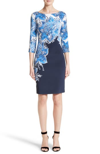 St. John Collection Lotus Blossom Print Stretch Silk Dress
