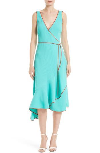Women's Diane Von Furstenberg Asymmetrical Ruffle Wrap Midi Dress, Size 10 - Blue/green