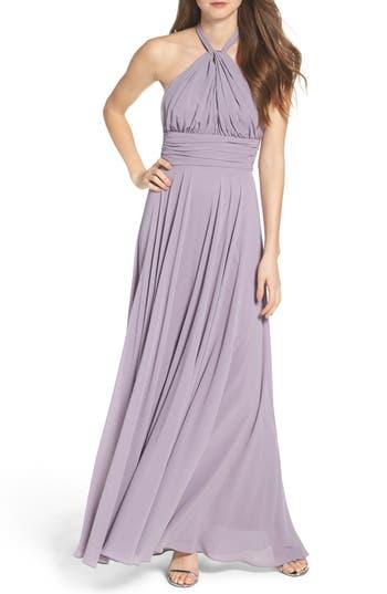 Lulus Chiffon Halter Gown, Purple