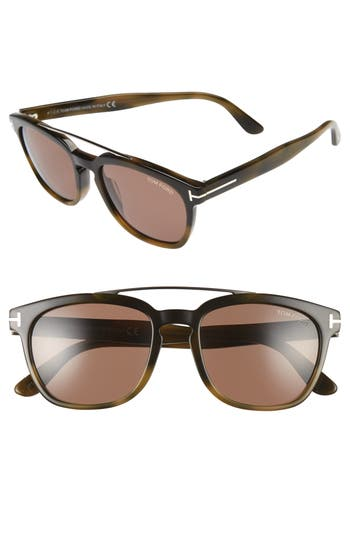 Men's Tom Ford Holt 54Mm Sunglasses - Shiny Green Havana/brown