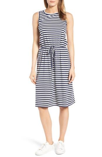 Caslon Sleeveless Cotton Blend Knit Drawstring Waist Dress