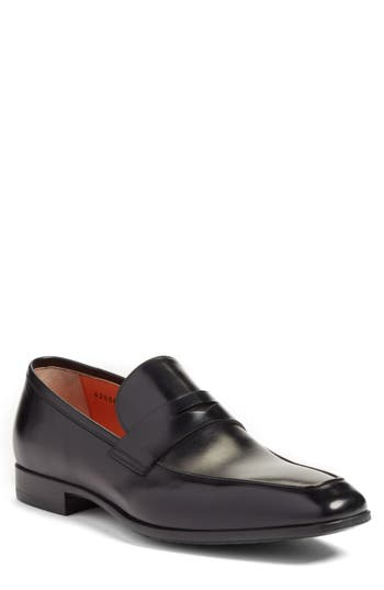 Santoni Fisk Square Toe Penny Loafer