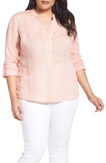 Plus Size Nic+Zoe Drifty Woven Linen Shirt, Orange