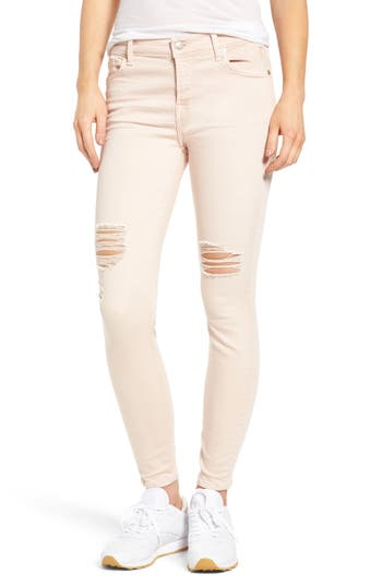 7 For All Mankind Ripped Ankle Skinny Jeans, Pink