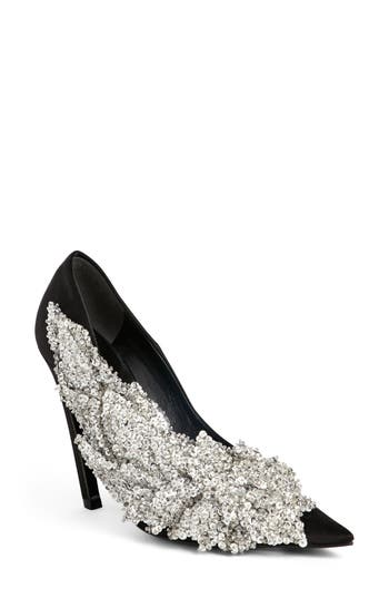 Balenciagao Embellished Pointy Toe Pump, Black