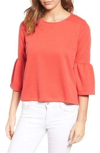 Women's Halogen Bell Sleeve Top, Size X-Large - Red