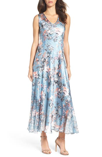 Komarov Charmeuse & Lace Maxi Dress