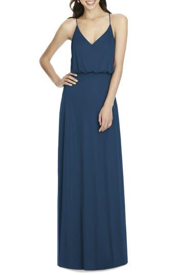 Alfred Sung Chiffon Blouson Gown, Blue