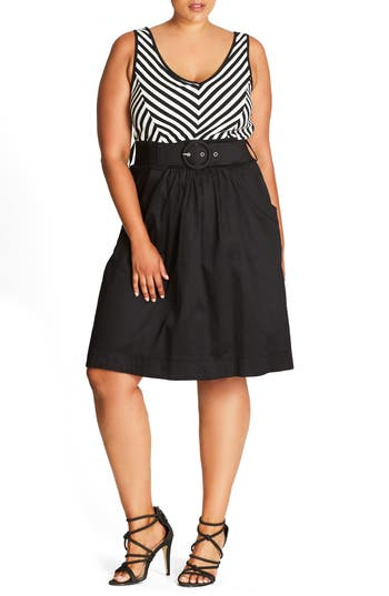 Plus Size City Chic Ahoy Sailor Belted Fit & Flare Dress, Black
