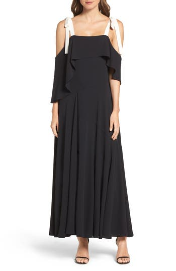 Halston Heritage Woven Swing Gown, Black