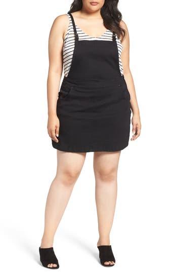 Plus Size City Chic Denim Pinafore Dress