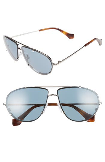 Balenciaga 62Mm Aviator Sunglasses - Palladium/ Havana/ Vintge Blue