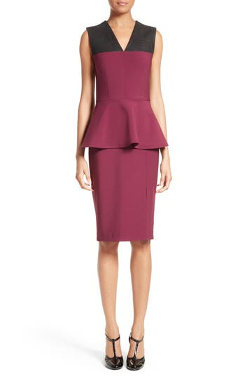 Yigal Azrouel Snake Embossed Leather Trim Peplum Dress, Burgundy