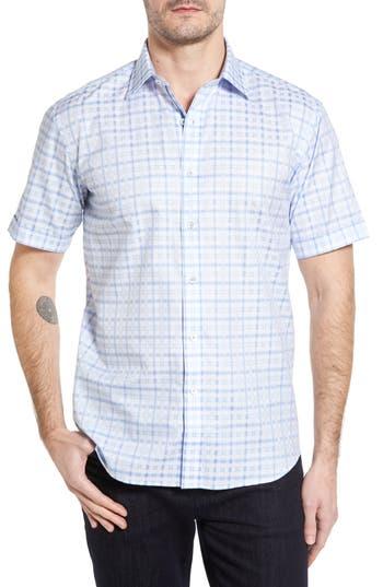 Men's Bugatchi Shaped Fit Tonal Plaid Short Sleeve Sport Shirt