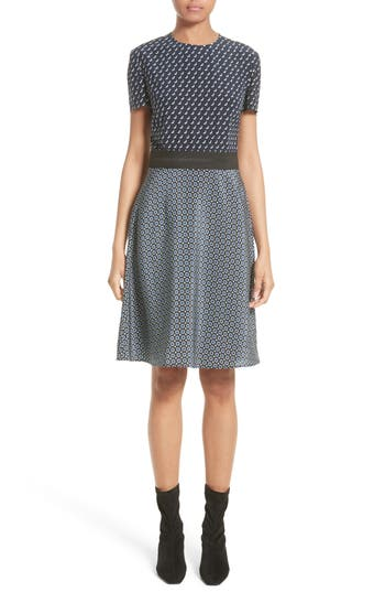 Stella Mccartney Windsor Print Silk Dress, US / 46 IT - Black