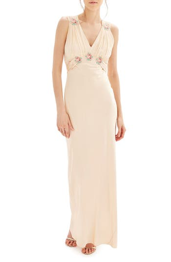 Women's Topshop Bride Embroidered Silk Gown, Size 2 US (fits like 0) - Beige