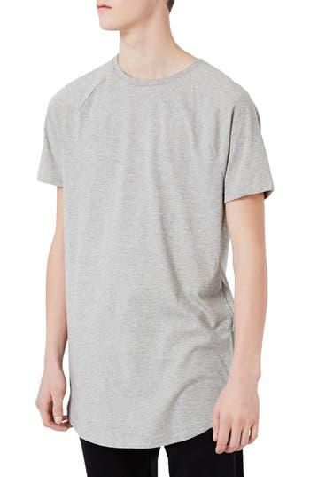Topman Longline T-Shirt With Side Zips, Grey
