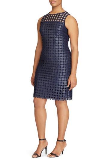 Plus Size Lauren Ralph Lauren Metallic Geo Lace Sheath Dress, Blue