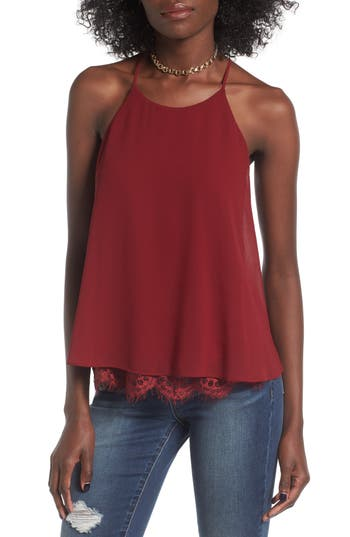 Women's Soprano Lace Trim Tank, Size Small - Red