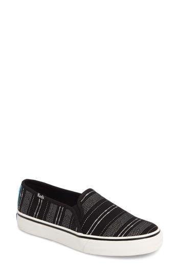 Keds Double Decker Baja Stripe Slip-On Sneaker, Black