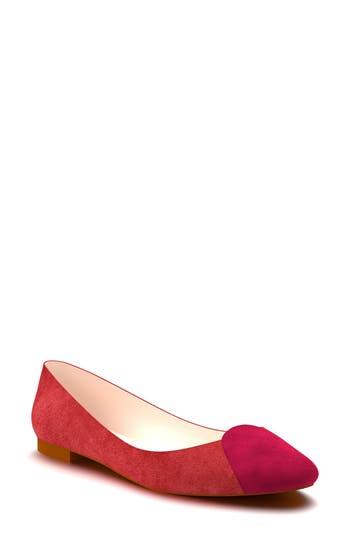 Shoes Of Prey Cap Toe Ballet Flat - Red