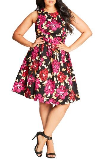 Plus Size City Chic Fit & Flare Dress, Black