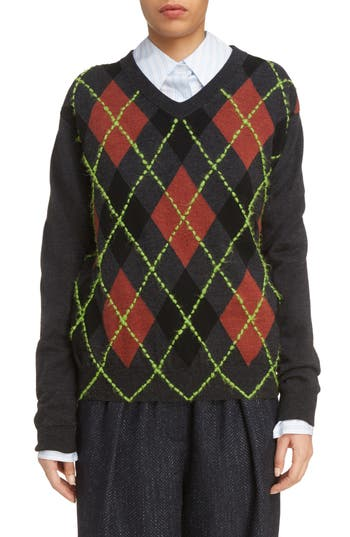 Acne Studios Vinia Argyle Wool & Mohair Sweater, Grey