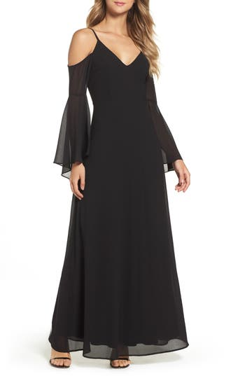 Lulus Cold Shoulder Chiffon Maxi Dress, Black